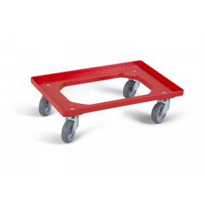 Dolly Budget ROOD 610x410x160mm - 4 rubber zwenkwielen