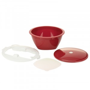 Multimaker set ROUGE (bol,couvercle,tamis,Multiplate blanc)